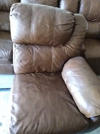 brown leather 3-seat sofa SPRING