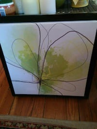 Green, Black and White Abstract Painting