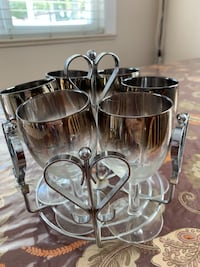 Set of 6 silver and glass WINE GLASSES with rack as shown Vancouver, V5S 2H1
