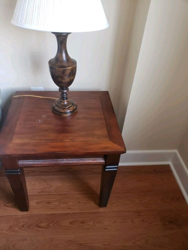 brown wooden base table (can include lamp)