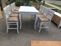 Tall table with chairs. Sanded & primed. Ready for paint.