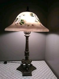 Hand painted frosted table lamp with brass stand  North Attleborough, 02760