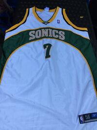 sonics 7 white yellow and green jersey Ashburn