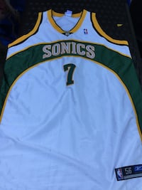 sonics 7 white yellow and green jersey