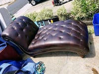 tufted black leather sofa chair Manassas
