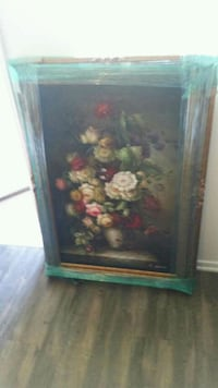 brown wooden framed painting of flowers Ladera Ranch, 92694
