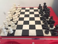 white and black ceramic chessboard with checkers set Brampton
