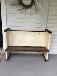 """Authentic historic church pew ,, from Washington DC church. Circa 1860's measures  37""""H 49""""W 22""""D Berwyn Heights, 20740"""