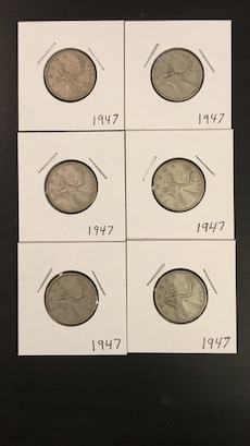 1947 silver 25 cent coins