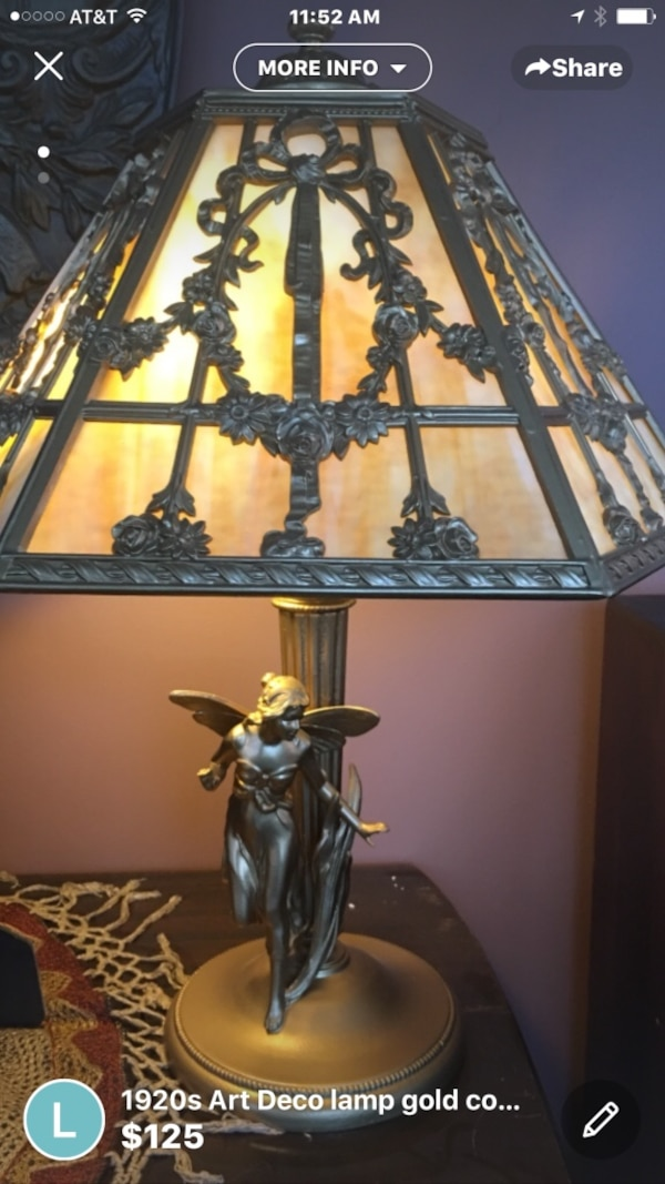 Grey table lamp with empire lampshade