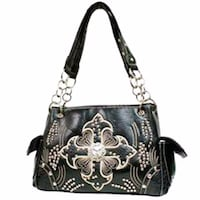 NWT Western Style Black Studded Shoulder Bag with Ivory Embroidered Cross Purse Omaha