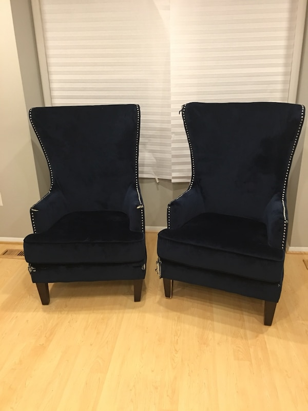 Two blue velvet accent chairs ($200 per chair)