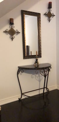 Ancient  style metal Set Mirror in frame wall mount Candelabra and Hanging rack Newmarket