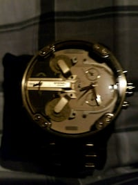 round gold-colored chronograph watch with black leather strap Redlands, 92373