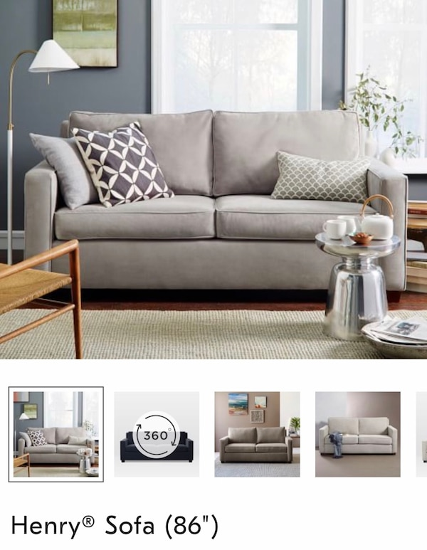 "West Elm Henry Sofa 86"" Grey 1"