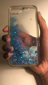 clear and blue glitter silicone iPhone case Nanaimo, V9T 0J7