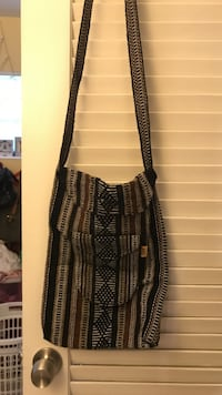 brown, black, and gray pinstripe knitted sling bag Sunrise, 33313