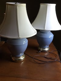 Two stainless steel base white shade table lamps Conestoga, 17516