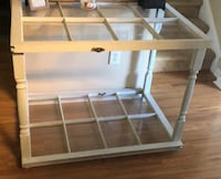 rectangular glass-top table with gray steel base 371 mi