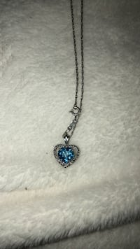 Sterling silver heart necklace with turquoise stone
