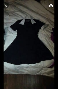 black and white collar neck a line dress