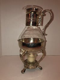 Silver and Glass Tea or Coffee Carafe / Pot with tea light warmer