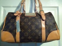 black and brown Louis Vuitton leather tote bag 2271 mi