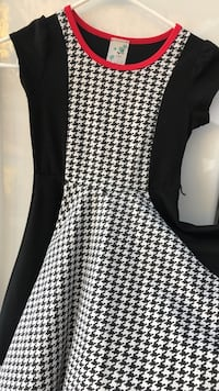 white and black houndstooth cap-sleeved dress