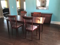 (4) Solid mahogany chairs, table and buffet