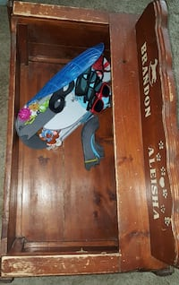 Wooden toy box and dollhouse 3 bags of toys Anchorage, 99517