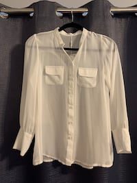 Woman's Sheer White Blouse - L Hamilton, L8J 0G8
