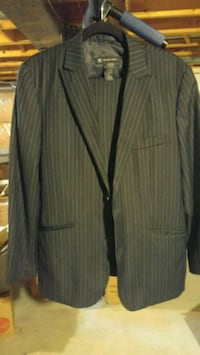 black and gray peaked lapel suit jacket