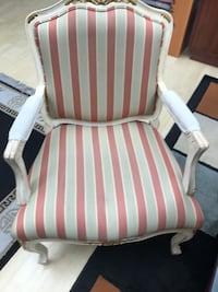 white and red stripe padded armchair