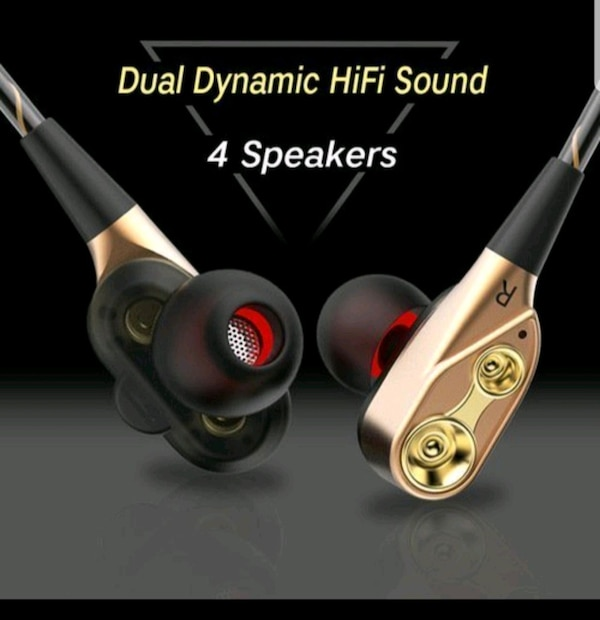 Earbud headphones high definition dual dynamic  eeb8be3a-555d-4107-bfde-75318a3bde57