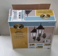 Hampton Bay Black Outdoor Wall Lantern Sconce (2-Pack) NEW, open box.  Arlington Heights