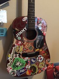 Sticker Bombed acoustic guitar Flower Mound, 75028