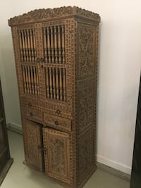 Unique with Carvings Solid Wood Hutch / Cabinet with Drawers Vancouver