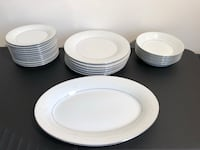 Set of 25 Crown Ming Fine China dishes 12 smaller side dishes, 6 bowls, 6 large plates 1 serving
