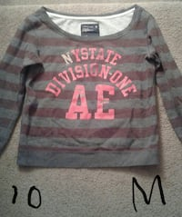 gray and red striped sweater