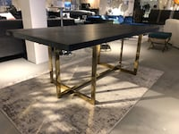 Black charcoal wood veneer mdf dining table with gold legs  North Bethesda, 20852
