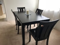 rectangular brown wooden table with four chairs dining set Burnaby, V3N 1J8