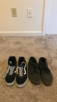 2 pairs of size 6 Youth Vans Black/White & Brown