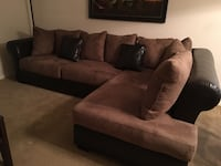 brown fabric sectional sofa with throw pillows Houston, 77084