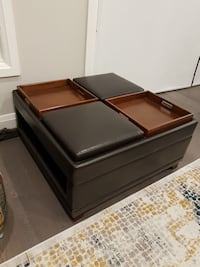 Leather reversible 4 tray coffee table