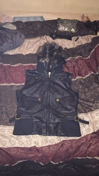 Leather vest detachable hood Leonardtown, 20650