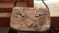 Brown/grey leather guess shoulder purse