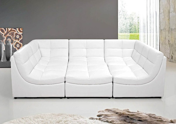 Z Gallerie White Leather Cloud Sectional