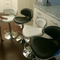 stainless steel framed black leather padded salon chairs Abbotsford, V2T 4H4