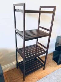 "Brown Wood Storage Rack (18"" W x 43"" H x 12.5"" D) Washington"