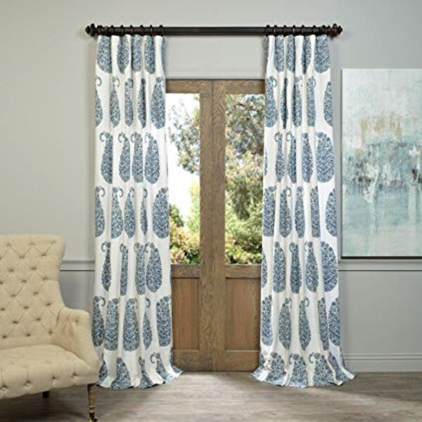 Arabesque Blue Printed Cotton Twill Curtains